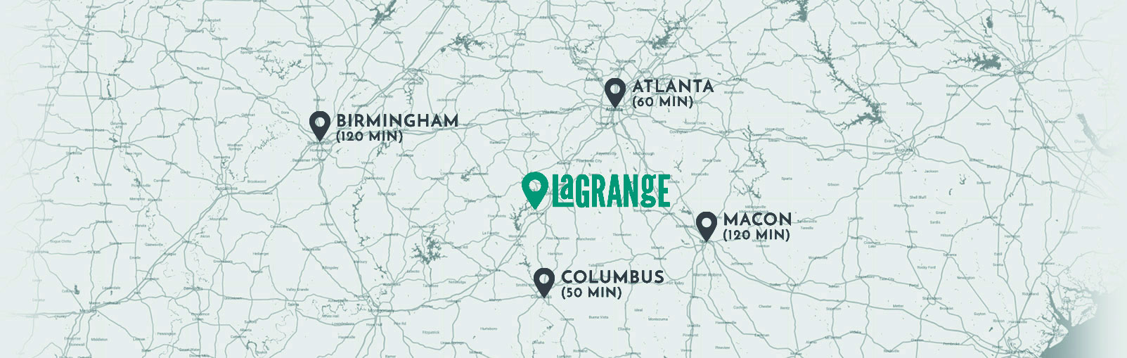 Location map of LaGrange GA